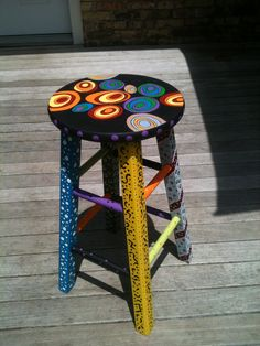 Painted stool for classroom. Inspired by other stools seen on Pinterest.