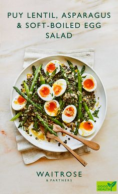 May 2019 - Eat the season with our fresh asparagus, puy lentil and soft-boiled egg salad. High in protein, vegetarian and ready in just 35 minutes. Tap for the Waitrose & Partners recipe. Steamed Hard Boiled Eggs, Boiled Egg Salad, Hard Boiled Egg Recipes, Soft Boiled Eggs, Asparagus Egg, Asparagus Recipe, Fresh Asparagus, Puy Lentil Salad, Boiled Egg Nutrition