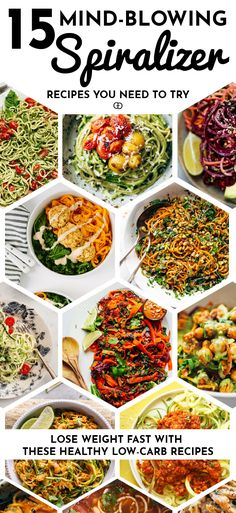 Lose weight fast with these genius spiralizer recipes! The best 15 quick and easy low-carb spiralizer recipes you need to try. Plus all the tricks and tips you need to know to spiralize zucchini and any other vegetables, including how to store them to keep them fresh for longer! Healthy eating has never been easier!