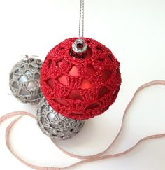 Decorations, Christmas Ornament, Christmas Decoration, Crocheted Tree Decotations, Crocheted Baubles 6cm, Red And Silver Ornaments on Etsy, £14.00