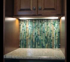 Bamboo Mosaic Tile Backsplash Very Cool Would Be Great With Black Cabinets As Well
