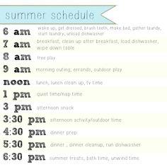 Our Summer Schedule