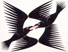 Ravens in Flight by Kenojuak Ashevak, Inuit artist (G20308)