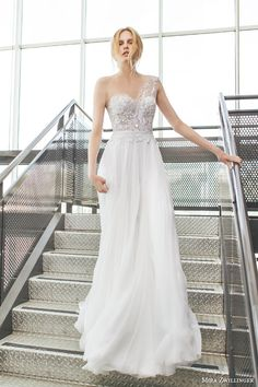 mira zwilinger bridal 2016 stardust crystal one shoulder wedding dress hand pleated silk chiffon lace bodice