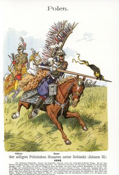 "cuirassier: ""Polish winged hussars at the siege of Vienna, officer and trooper The lance looks short even from that perspective, the lance should be about 5 meters long. Military Art, Military History, Military Uniforms, Litany Of The Saints, Best Army, Renaissance Era, Fashion Templates, Medieval Armor, Napoleonic Wars"