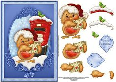 Christmas card front with step by step decoupage, featuring the cutest little robin, posting a letter to Santa.  2 sentiment tags provided, one blank for your own greeting. The other reads Merry Christmas.
