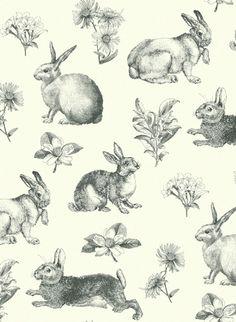Bunnies for days  Ashford wallpaper from York Wallcoverings