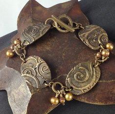 Bronze Linked Bracelet - Metal Clay by SimplyAdorning Mixed Metal Jewelry, Metal Clay Jewelry, Sea Glass Jewelry, Metal Bracelets, Copper Jewelry, Polymer Clay Jewelry, Jewelry Art, Jewelry Design, Precious Metal Clay