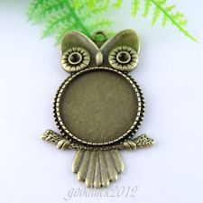 38964 Antique Bronze Tone Alloy Owl Round Cameo Setting Charms Jewelry 7PCS