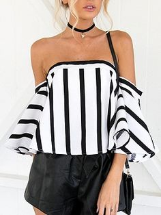 Shop White Stripe Off Shoulder Flared Sleeve Crop Top from choies.com .Free shipping Worldwide.$16.99