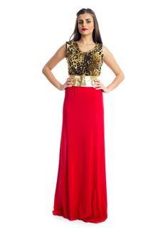 For that elegant and yet casual look, this sleeveless maxi dress by Xela make a perfect buy! It features leopard printed detail on top and red jersey fabric at the bottom with a golden waist belt to add that touch of glamour to your look. This dress makes an ideal choice for social gatherings.