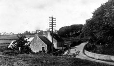 Old photograph of farm workers cottages in rural Perthshire, Scotland