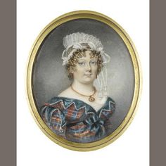 Miss Charlotte Thicke (active 1802-1846) A Lady, wearing blue and red tartan dress edged with crenellated green trim Miss. C. Thicke/ 17 Duke Street./ Portland Place/ Decr 4. 1820