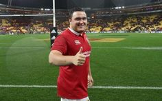 Jamie George of the Lions celebrates after their victory during the match between the New Zealand All Blacks and the British & Irish Lions