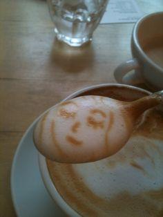 A smile in your spoon! #MrCoffee #Latte #Foam #Art