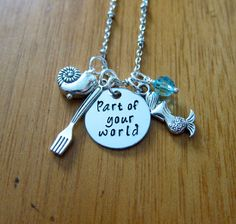 """Little Mermaid Inspired Necklace. Part Of Your World. Silver colored, Swarovski crystal, for women or girls. Little Mermaid necklace. Little Mermaid Jewelry. Disney song """"Part of your world"""". by WithLoveFromOC"""