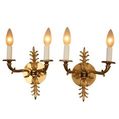 Pair of 1930s Bronze Wall Sconces | See more antique and modern Wall Lights and Sconces at http://www.1stdibs.com/furniture/lighting/sconces-wall-lights