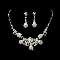 Intricate Freshwater Pearl and Crystal Wedding Jewelry Set - Affordable Elegance Bridal -