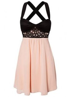 Black Pink Rhinestone Skater Dress to wear to a wedding as guest