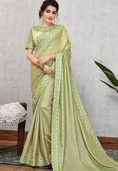 pista green satin silk embroidered saree 11404 Churidar, Anarkali, Salwar Kameez, Lehenga, Art Vert, Art Bleu, Latest Sarees Online, Designer Sarees Online, Fancy Sarees