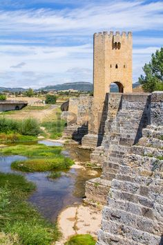 Medieval bridge with a tower in Frias, Burgos, Spain