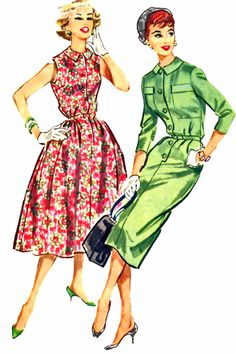 McCalls 4411 1950s Shirtwaist dress full skirt sheath button front sleeveless 3/4 sleeves red pink floral green solid color illustration print ad vintage fashion style