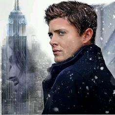 Jensen Ackles - A well done piece of fan art, I like the impression of Jared on the buildings.
