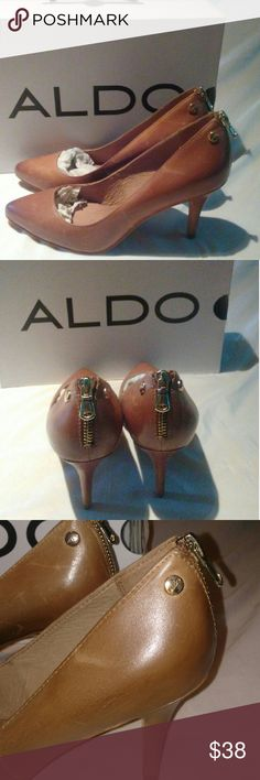 NEW ALDO BROWN WITH GOLD HARDWARE New with box. Scuffs due to these were display shoes. I bought it like that. Never worn. Bottoms never touch the ground. Fits 6 to 6.5 best Aldo Shoes