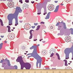 Michael Miller It's a Girl Thing Magic Unicorns Lavender from @fabricdotcom  Designed for Michael Miller Fabrics, this cotton print fabric is perfect for quilting, craft projects, apparel and home décor accents. Colors include shades of purple and shades of pink on a white background.