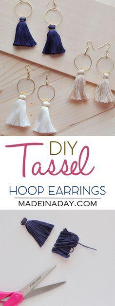 DIY Hoop Tassel Earrings, Learn to make super trendy tassel earrings! Tassel hoops, gold hoop, Anthro hack, tutorial on madeinaday.com