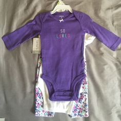 CARTERS INFANT SET CARTERS THREE PIECE SET. NEW WITH TAGS AND HANGER. Tops