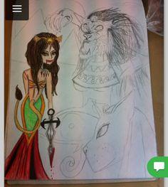 Äldre påbörjad teckning teckning inspirerad av egyptisk mytologi, främst den om krigsgudinnan Sekhmet med sitt lejonhuvud