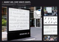 """En Africa, 1.6 millones de niños y adultos mueren por SIDA. La idea: 321 relojes que dos veces al día dan un mensaje de sensibilización. FONDS SOLIDARITÉ SIDA AFRIQUE (AIDS AFRICA SOLIDARITY FUND): """"CLOCKS"""" Publicidad ambiental hecho por BETC Euro Rscg"""