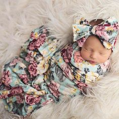 Blue Floral Infant Swaddle Blanket Photo Prop with Bow