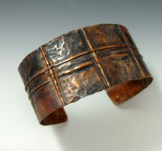 Fold Formed Copper Oxidized Cuff, handcrafted artisan jewelry by jewelrybyfrancine on etsy