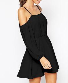 robe épaule dénudé à bretelle -Noir  16.55