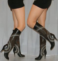 AMAZING vintage 70s 80s leather boots size 55 by thevintagevoice, $275.00