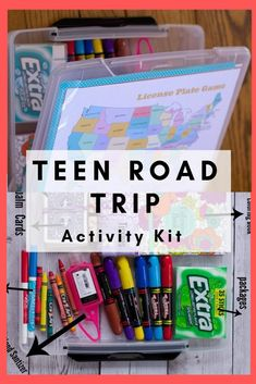 Road trip essentials for a teen car trip box idea. Family Travel with the kids and how to keep teens busy while traveling. Free road trip printables for teens and tweens for your road trip activity kit. Keep Kids busy box for car Car Trip Activities, Kids Travel Activities, Road Trip Games, Kids Travel Kits, Road Trip Snacks, Family Activities, Road Trip Packing List, Road Trip Essentials, Harley Davidson
