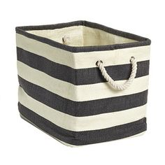Sophisticated and stylish, our multifunctional Rugby Stripe Bins are just right for corralling books, magazines or throw blankets in the living area, throw pillows in the bedroom or rolled towels in the bathroom.  Handles on each end make carrying them convenient and comfortable.  New easily inserted plastic stays fit in small pockets on the interior of the bins to add structure.