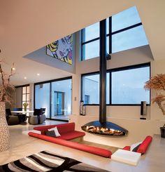 Salotto con camino dal design moderno 09
