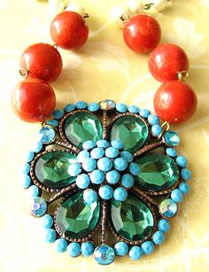 Coral and Turquoise Necklace Red Coral Jewelry by zafirenia, $57.00