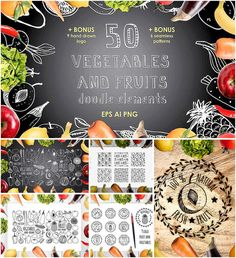 Set of 50 hand drawn vegetables and fruits doodle elements with patterns in vector format. Free for download. File format: .ai, .eps, .png for Photoshop or other software. File size: 13 Mb.