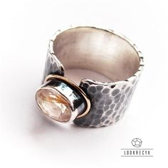 złote wstążki... srebrny pierścień ze złotem i rutylem / lookrecya / Biżuteria / Pierścionki