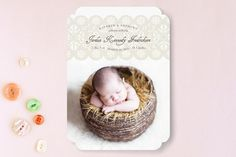 Wrapped in Lace Birth Announcements by fatfatin at minted.com