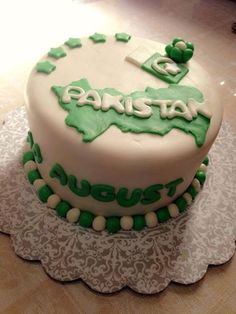 Pakistan Independence day celebration cake more like little map shapes all around the cake