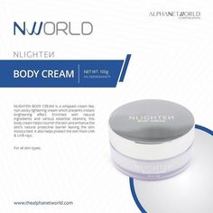 NLighten Body Cream is a non-sticky lightening cream made from natural ingredients and essential vitamins. First, it helps in enhancing the natural protective barrier of the skin thus nourishing and leaving it moisturized. It also acts as a protection of the skin from harmful UVA and UVB rays.
