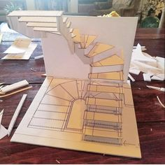 Look at this cool painted staircase - what a very creative type Architecture Symbols, Architecture Model Making, Stairs Architecture, Concept Architecture, Architecture Details, Interior Architecture, Architecture Drawing Plan, Spiral Stairs Design, Staircase Design