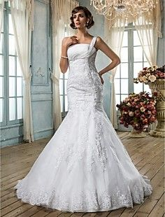 Trumpet/Mermaid One Shoulder Organza Wedding Dress – USD $ 299.99