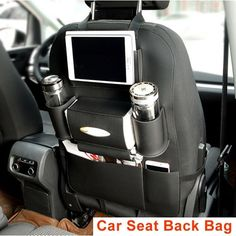 BLACK- Car Seat Back Bag Organizer Storage Cup iPad Phone Holder Pocket Leather…