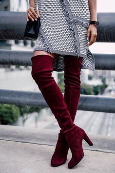 VivaLuxury - Fashion Blog by Annabelle Fleur: Stuart Weitzman Suede Burgundy Boots http://FashionCognoscente.blogspot.com